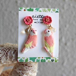 【残り僅か!】ミニチュア作家 aietta 【アキクサインコ】ピアスorイヤリング*花鳥*ピンクの花とチェコガラスの雫