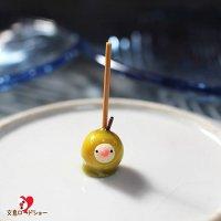 【お一人様1つまで】ミニチュア作家 mamimoon「【青リンゴ】りんご飴文鳥オブジェ」1つ