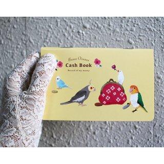 【お小遣い帳】【通帳サイズ】オリエンタルベリー・文鳥・インコetc.キャッシュブック【お花模様のお財布】Beaux Oiseaux*クリームイエロー
