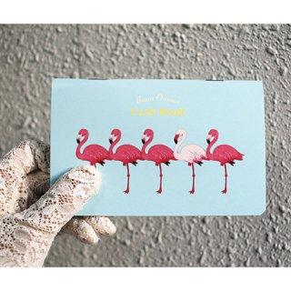 【お小遣い帳】【通帳サイズ】オリエンタルベリー・キャッシュブック【フラミンゴ】Beaux Oiseaux*アクアブルー