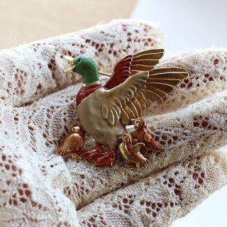 Palnart Poc【カモ親子ブローチ 】鴨の秋ブローチ