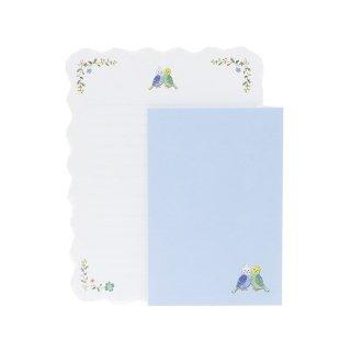 【生産終了・在庫限り】刺繍風 セキセイインコのレターセット♪ メルスリーレター 手紙セット/BIRD