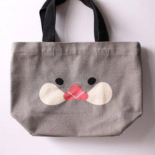 【大人気!】「ミニトート / さくらアップ / グレー」桜文鳥の帆布ランチバッグ【さくらとぶんた】