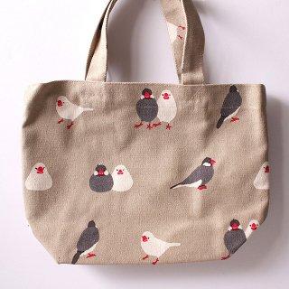 【大人気!】「ミニトート / さくぶんづくし / グレー」白文鳥&桜文鳥のランチバッグ【さくらとぶんた】
