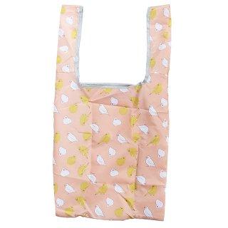 【エコバッグ】【ハミングバード*ピンク】 折りたたみショッピングバッグ 白文鳥&カラシ色インコ