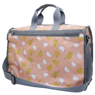 【ボストンバッグ】【ハミングバード*ピンク】トラベルボストン 白文鳥&カラシ色インコ マザーバッグにも