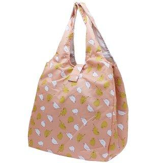 【大容量エコバッグ】【ハミングバード*ピンク】折りたたみ くり手ショッピングバッグ 白文鳥&カラシ色インコ