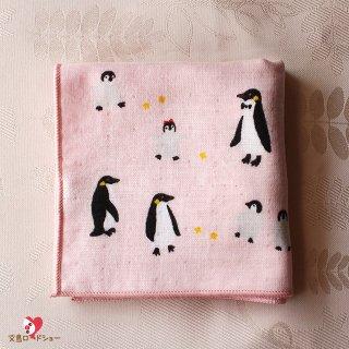 濱文様「おでかけペンギン・和たおるセミウォッシュ」25cm×25cm*ペンギン親子のハンドタオル*パールピンク