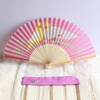 オカメインコのシルク扇子・袋付*小鳥トリ*扇子袋つき*ピンクパープル