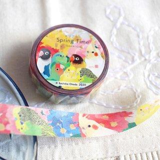 とりアート【Spring Time】マスキングテープ * お花とセキセイ・オカメ・ボタン・コザクラ* ビビッド・カラフル 1.5cm幅