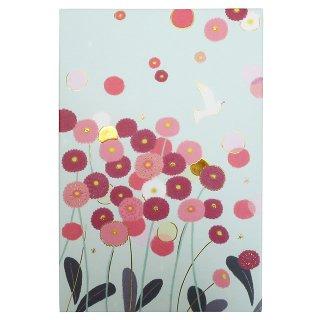 【育児日記・芳名帳・サイン帳などにも♪】ひらいみも いろどり御朱印帳「ポンポンデイジー」お花と白い鳥*水色*伊予和紙【オリエンタルベリー】