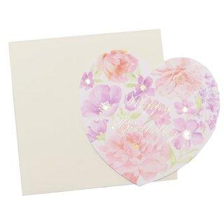 【鳥グッズと一緒に♪】【グリーティングカード】フラワー ダイカット ミニカード「ハッピーバースデー」ピンクとパープルの花*ハート型