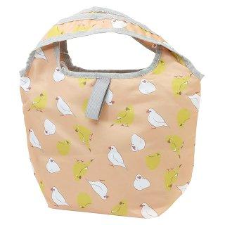 【ハミングバード*ピンク*小さいサイズ】くるくる保冷ショッピングバッグ・プチ / 白文鳥&カラシ色インコのエコバッグ