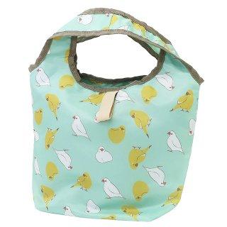 【ハミングバード*ミントグリーン*小さいサイズ】くるくる保冷ショッピングバッグ・プチ / 白文鳥&カラシ色インコのエコバッグ