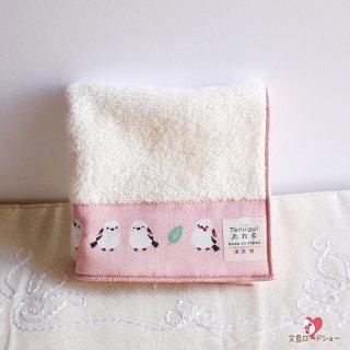 濱文様「ちゃんこいシマエナガ / オフ」Tenuguiたおる*23cm×23cm*シマエナガの手ぬぐいタオル*ホワイト&ピンク