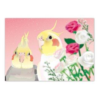 とりアート【ローズ&オカメ】メモ帳*薔薇とオカメインコのメモパッド ピンク /1冊