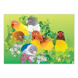 とりアート【ボタンサークル】メモ帳*春の草花とボタンインコ全員集合のメモパッド グリーン /1冊