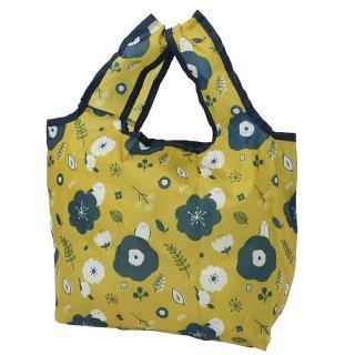 ミニエコバッグ「シマエナガ 金具つき」折りたたみショッピングバッグ / シマエナガとお花 / カラシ色