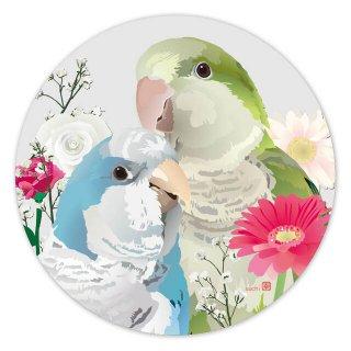 【お一人様2枚まで】とりアート【オキナブーケ】アクリルコースター*オキナインコとガーベラのお花