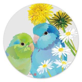 【お一人様2枚まで】とりアート【花とまめ】アクリルコースター*マメルリハと野の花