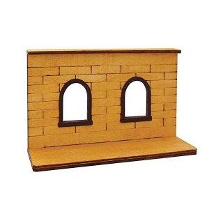 【生産終了・在庫限り】DECOLE デコレ*ミニチュア用インテリア【アーチ窓のある壁】木の背景台*concombreコンコンブル*純喫茶コンブル