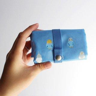 濱文様【エコトート小 】「インコ並べ ブルーグレー」セキセイ・オカメの小さめエコバッグ 青*折りたたみショッピングバッグ
