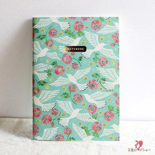 【横罫ノート】Tomoko Hayashi A5ミニノート 鳥たちの歌 / エメラルドグリーンに白い鳥とピンクの花