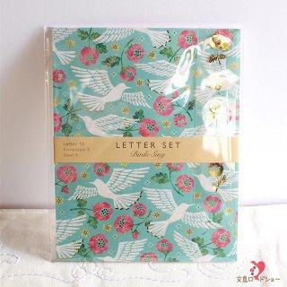 【レターセット】Tomoko Hayashi レターセット 鳥たちの歌 / エメラルドグリーンに白い鳥とピンクの花