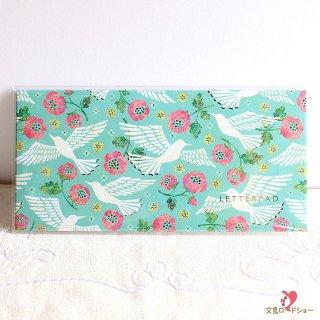 【メモ帳】Tomoko Hayashi スモールレターパッド 鳥たちの歌 / エメラルドグリーンに白い鳥とピンクの花