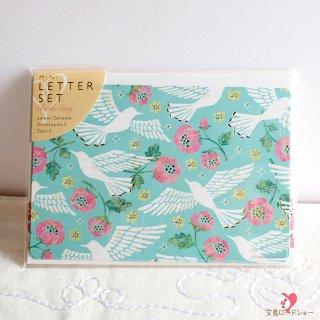 【小さめレターセット】Tomoko Hayashi ミニレターセット 鳥たちの歌 / エメラルドグリーンに白い鳥とピンクの花