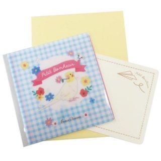 Beaux Oiseaux【マスク入れのプチギフト付きメッセージカード*オカメインコ】抗菌マスクケース付きカード*ブルーのギンガムチェック