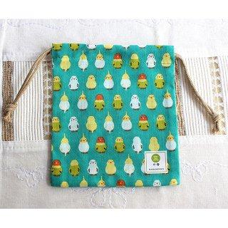 濱文様「インコ並べ / 巾着小」和モダン・インコの巾着袋【コップが入るサイズ・給食に】エメグリーン