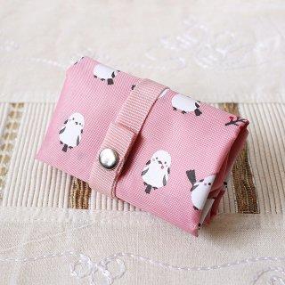 濱文様【エコトート小 】「ちゃんこいシマエナガ ピンク」シマエナガの小さめエコバッグ*折りたたみショッピングバッグ