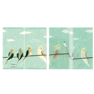 「シマザキミユキ / 抗菌マスクケース / 晴れた空」青空の下のオカメインコ / 3ポケット / 日本製 / デザイナーズジャパン*エメラルドグリーン