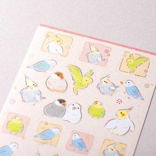 「和風シール大 / ゆるらか小鳥」筆タッチ / 四角い窓の文鳥&インコ / 和風和紙シール / エヌビー社*生成り