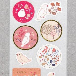 「ひなた / kotoriシール」白文鳥風・植物柄シール / エヌビー社*ピンク