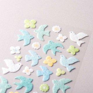 「ヴィベールシール大 / 青い鳥」小鳥とお花のふわふわシール / 透明台紙 / エヌビー社