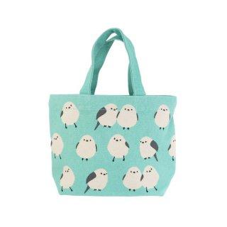 【残り僅か!】「ミニトート / シマエナガ /ミント」グリーンにシマエナガいっぱいのランチバッグ
