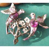 【送料無料】1930〜50年代紫色の花とラブバードのヴィンテージブローチ(セルロイド)