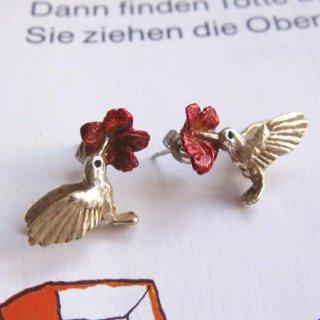 【ハミングバードピアス】Palnart Pocハイビスカスとハチドリのピアス