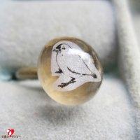 Lissitaリシータ・小鳥のコラージュリングmini/白文鳥/水滴のかたち【フリーサイズ】