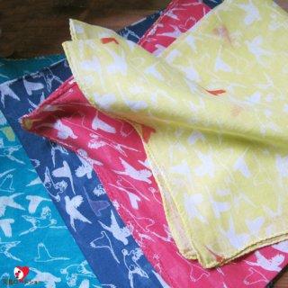 リーブルバードハンカチ/50cm×50cm大判/インド綿のナチュラル小鳥模様/1pc