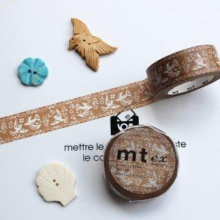 【mt ex】【レース・鳥 】約2cm幅*カフェオレ色に小鳥の白いレース柄 マスキングテープ/1pc