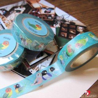 ミニチュア作家 aietta インコ柄のマスキングテープ1pc/エメラルドグリーン【mt】