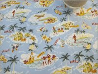 【ブロード 生地】Aloha Story*ハワイアン*コットン*blue*A3