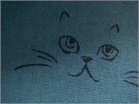 【綿麻キャンバス 生地】ネコ猫ラメ*コットンリネン*blue*2E�