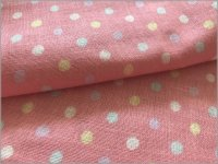 【ダブルガーゼ 生地】カラフル5mm水玉*pink*A3