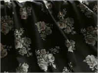 【ブロード 生地】アンティークローズ*薔薇*black*C2