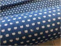 【ダブルガーゼ 生地】猫フェイス*denim animals*blue*1B