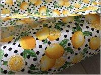 【オックス 生地】レモンと水玉*lemon*檸檬*white blackdot*2A�